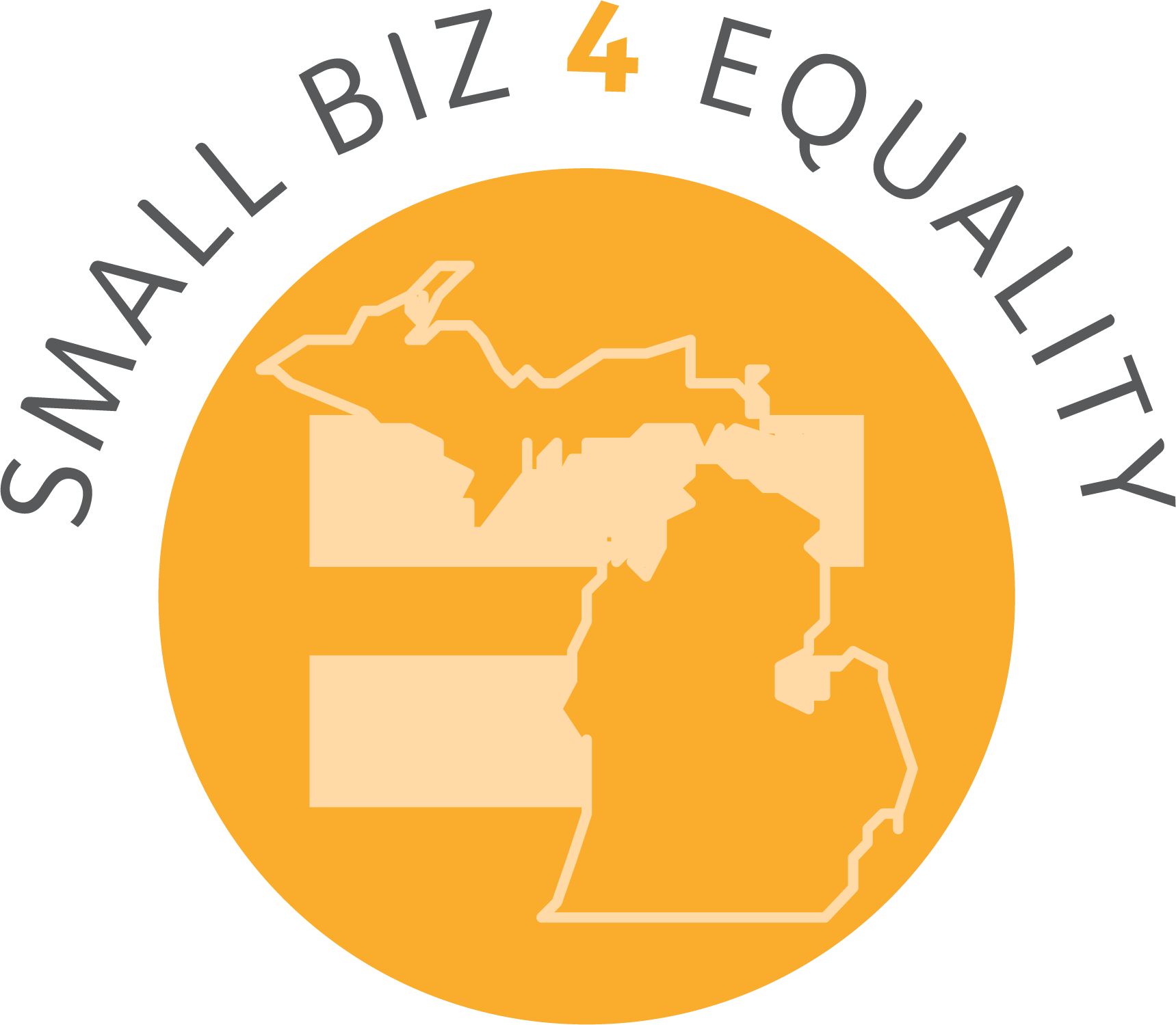 "The state of Michigan is superimposed over an equal sign. Text reads, ""Small Biz 4 Equality."""